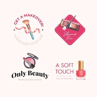 Diseño de logotipo con concepto de maquillaje para acuarela de marca y marketing.