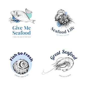 Diseño de logotipo con concepto de mariscos para ilustración de marca y marketing