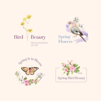 Diseño de logotipo con concepto de primavera y pájaro para branding y marketing ilustración acuarela