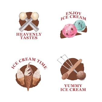 Diseño de logotipo con concepto de sabor a helado, estilo acuarela