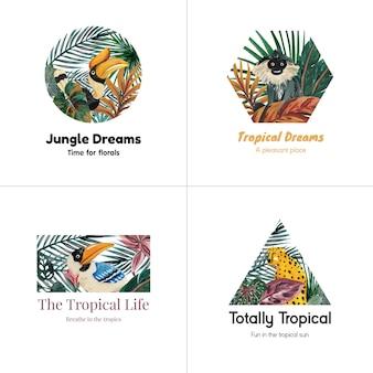 Diseño de logotipo con concepto tropical contemporáneo para branding y marketing ilustración acuarela