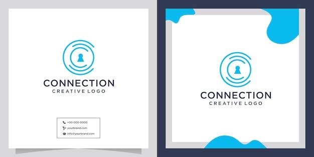 Diseño de logotipo de conexión de seguridad de personas