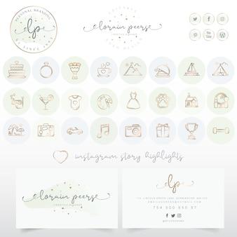 Diseño de logotipo con conjunto de iconos y tarjetas de visita.