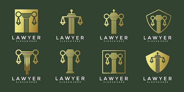 Diseño de logotipo de conjunto de ley de lujo