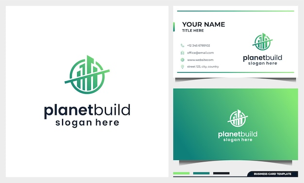 Diseño de logotipo de construcción con concepto de espacio de planeta y plantilla de tarjeta de visita