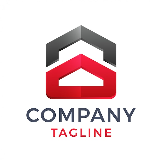 Diseño de logotipo de construcción de edificio de bienes raíces de casa geométrica 3d moderno audaz abstracto
