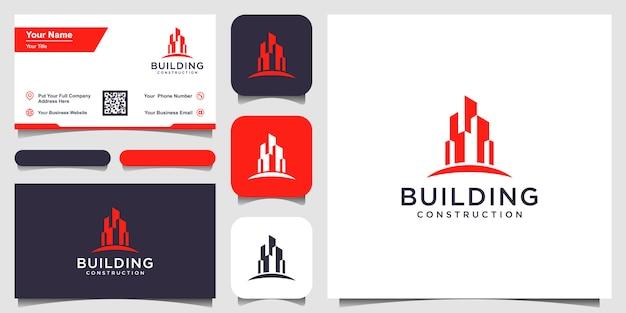 Diseño de logotipo de construcción de edificios inspiración. y diseño de tarjetas de visita