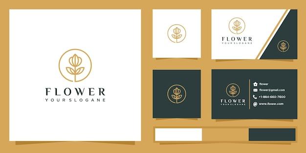 Diseño de logotipo de contorno de flor rosa y tarjeta de visita