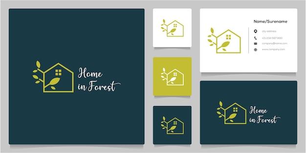 Diseño de logotipo de contorno de línea de arquitectura de casa de árbol verde