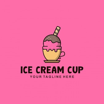 Diseño de logotipo de copa de helado con estilo plano