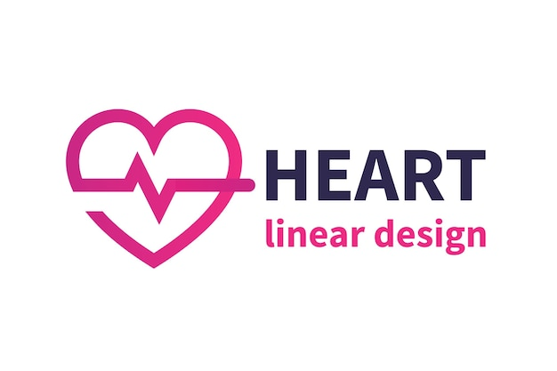 Diseño de logotipo de corazón, cardiología, medicina, cardiólogo