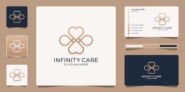 Diseño de logotipo de corazón minimalista con símbolo de infinito. iconos de belleza cosméticos, maquillaje, cuidado de la piel y plantilla de tarjeta de visita.