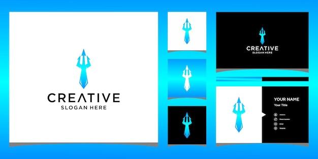 Diseño de logotipo de corbata con plantilla de tarjeta de visita
