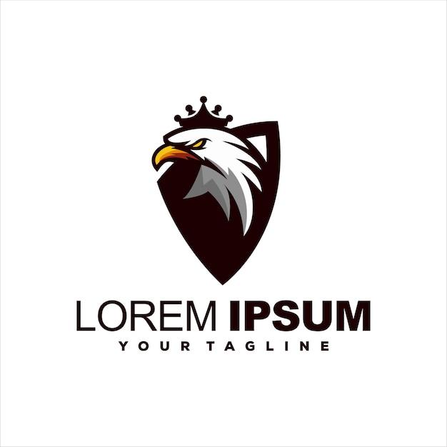 Diseño de logotipo de corona de cabeza de águila