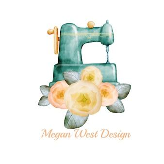 Diseño de logotipo de costura de acuarela