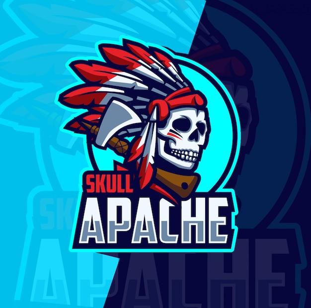 Diseño de logotipo de cráneo apache mascota esport