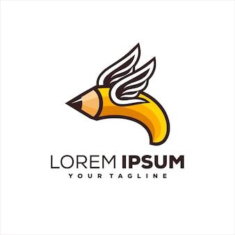 Diseño de logotipo creativo de ala de lápiz