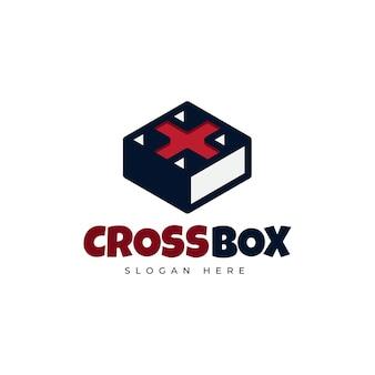 Diseño de logotipo creativo de caja de medicina cruzada