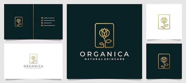 Diseño de logotipo creativo y elegante de hojas y flores rosas para la belleza con una tarjeta de visita simple