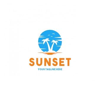 Diseño de logotipo creativo moderno atardecer