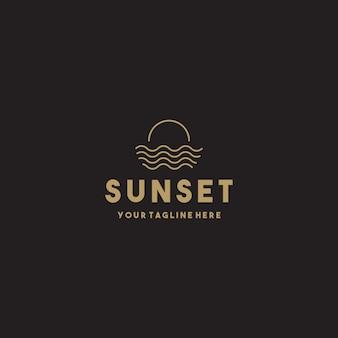 Diseño de logotipo creativo simple puesta de sol