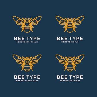 Diseño de logotipo con cuatro tipos de abejas.