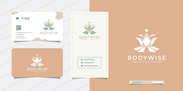 Diseño de logotipo de cuerpo floral y tarjeta de visita.