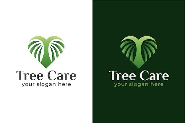 Diseño de logotipo de cuidado de árboles con símbolo de amor