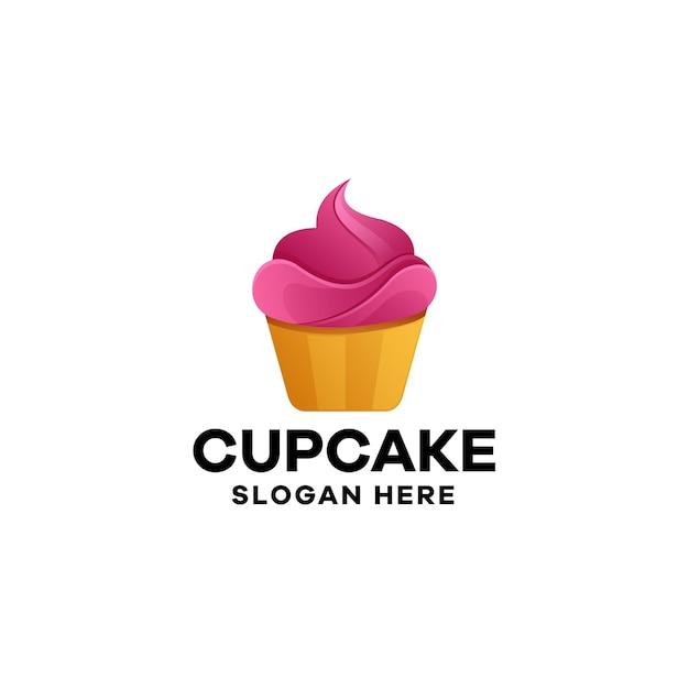 Diseño de logotipo cupcake degradado