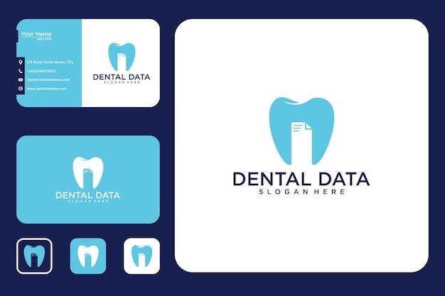 Diseño de logotipo de datos dentales y tarjeta de visita.