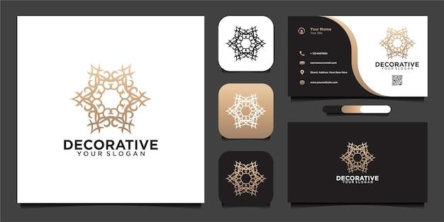 Diseño de logotipo decorativo y tarjeta de visita.