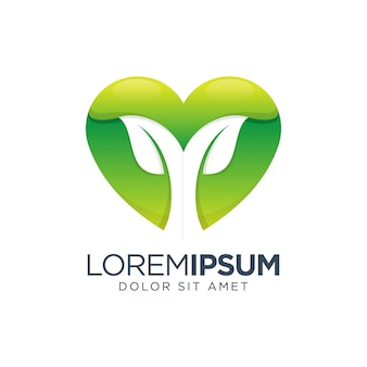 Diseño de logotipo degradado de amor de hoja