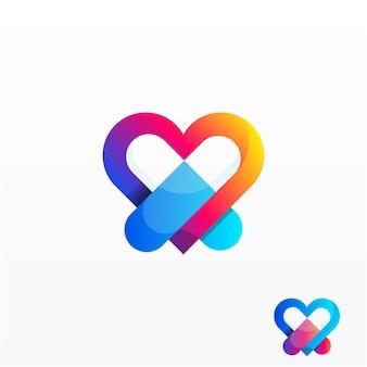 Diseño de logotipo degradado de amor