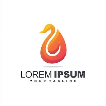 Diseño de logotipo degradado animal cisne