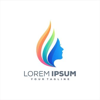 Diseño de logotipo degradado de belleza de mujer