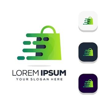 Diseño de logotipo degradado de bolsa de compras