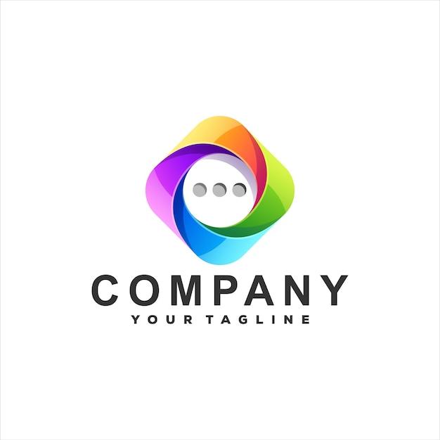 Diseño de logotipo degradado de burbuja de chat