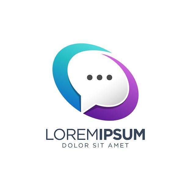 Diseño de logotipo degradado de chat