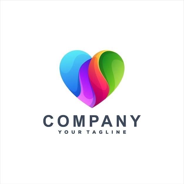 Diseño de logotipo degradado de color de amor