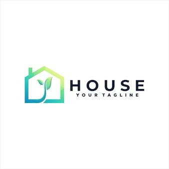 Diseño de logotipo degradado de color de la casa