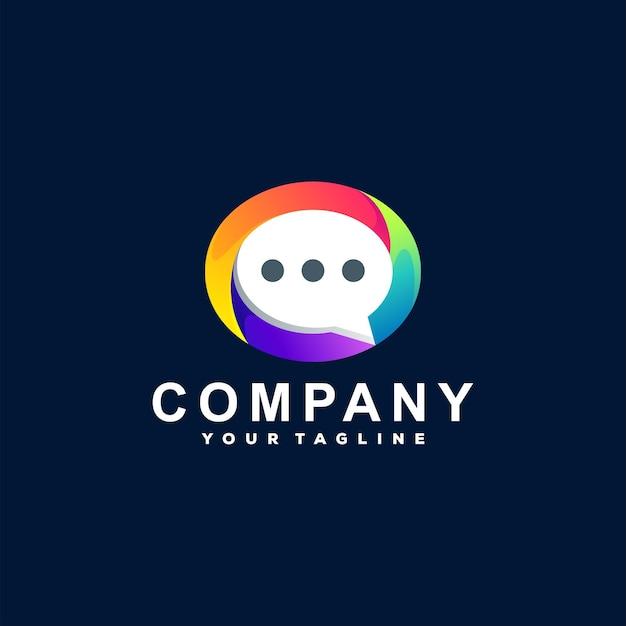 Diseño de logotipo degradado de color de chat