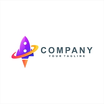 Diseño de logotipo degradado de color cohete