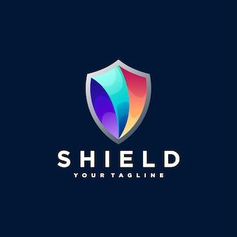 Diseño de logotipo degradado de color de escudo