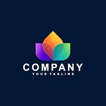 Diseño de logotipo degradado de color de flores