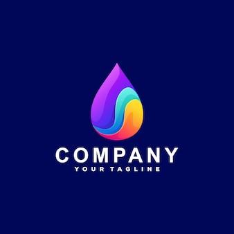Diseño de logotipo degradado de color gota