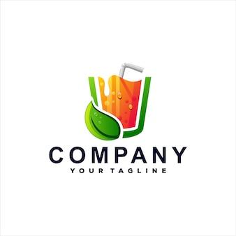 Diseño de logotipo degradado de color de jugo