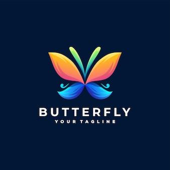Diseño de logotipo degradado de color mariposa