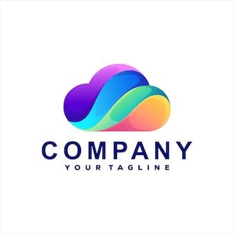 Diseño de logotipo degradado de color de nube