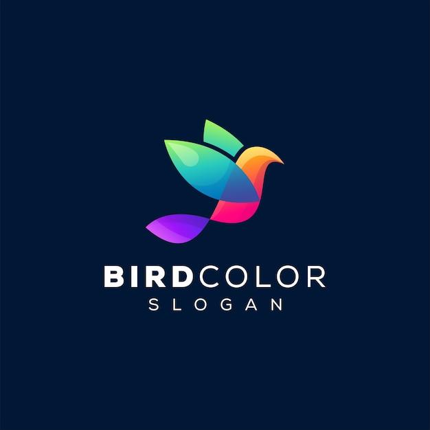 Diseño de logotipo degradado de color de pájaro