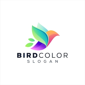 Diseño de logotipo degradado de color de pájaro